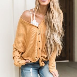 Tie tops women's casual long sleeve knit button up